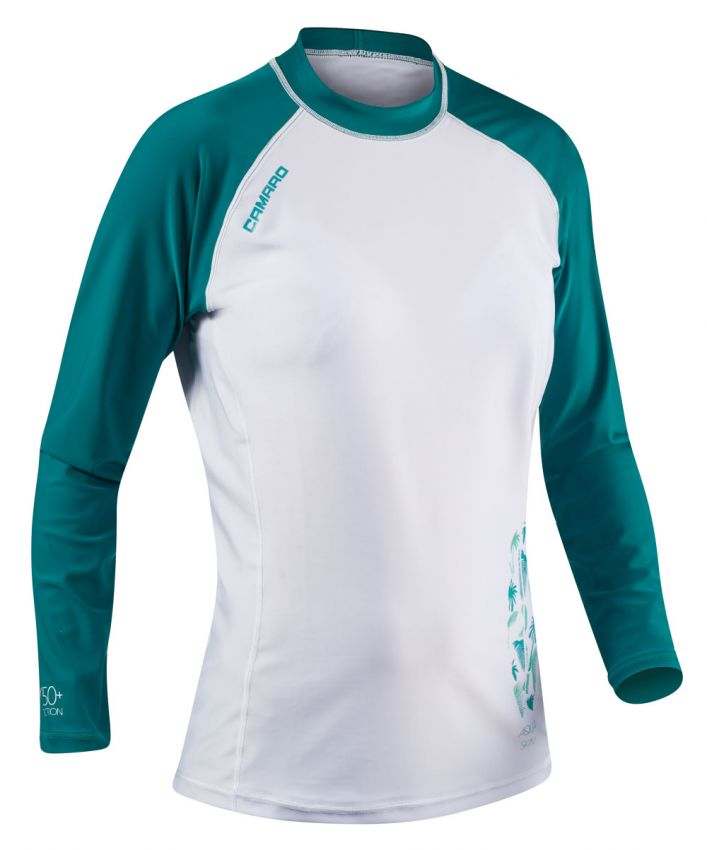 Lycra Shirts Women Longsleeves white/green