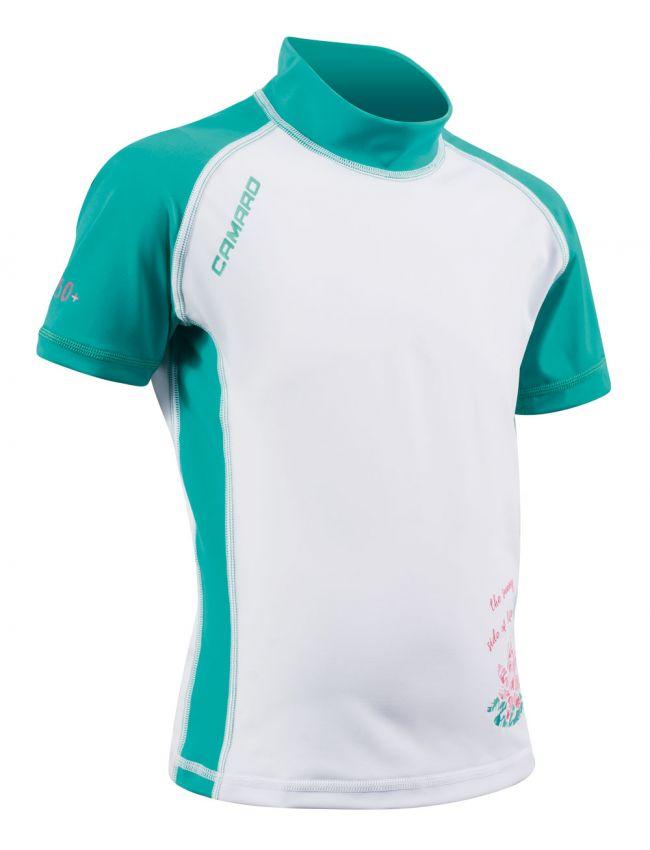 Lycra Shirt Girls light Shortsleeves white/turquise